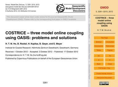 Costrice – Three Model Online Coupling U... by Ho, H. T. M.