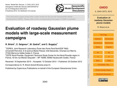 Evaluation of Roadway Gaussian Plume Mod... by Briant, R.