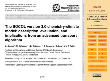 The Socol Version 3.0 Chemistry-climate ... by Stenke, A.