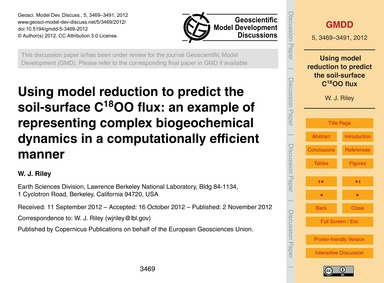 Using Model Reduction to Predict the Soi... by Riley, W. J.