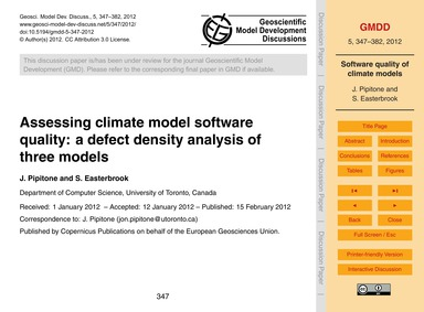 Assessing Climate Model Software Quality... by Pipitone, J.