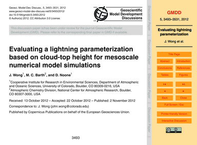 Evaluating a Lightning Parameterization ... by Wong, J.