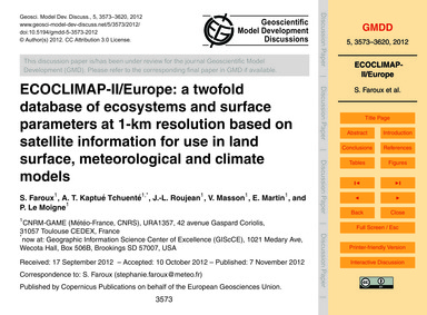 Ecoclimap-ii/Europe: a Twofold Database ... by Faroux, S.