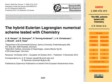 The Hybrid Eulerian Lagrangian Numerical... by Hansen, A. B.