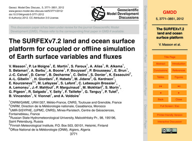 The Surfexv7.2 Land and Ocean Surface Pl... by Masson, V.