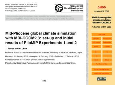Mid-pliocene Global Climate Simulation w... by Kamae, Y.