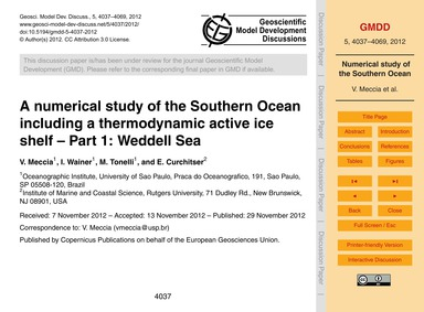 A Numerical Study of the Southern Ocean ... by Meccia, V.