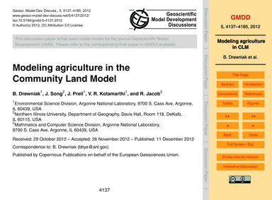 Modeling Agriculture in the Community La... by Drewniak, B.