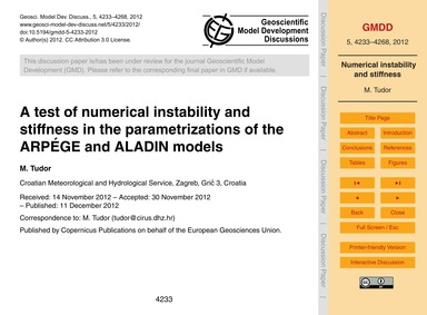 A Test of Numerical Instability and Stif... by Tudor, M.