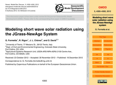 Modeling Short Wave Solar Radiation Usin... by Formetta, G.