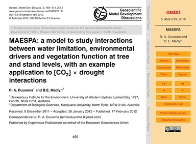 Maespa: a Model to Study Interactions Be... by Duursma, R. A.