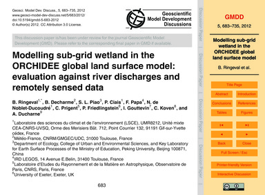 Modelling Sub-grid Wetland in the Orchid... by Ringeval, B.