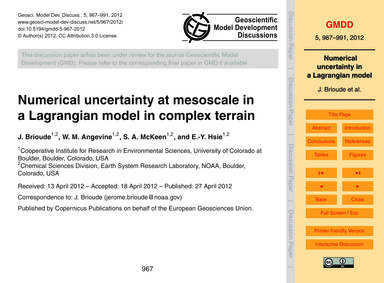 Numerical Uncertainty at Mesoscale in a ... by Brioude, J.