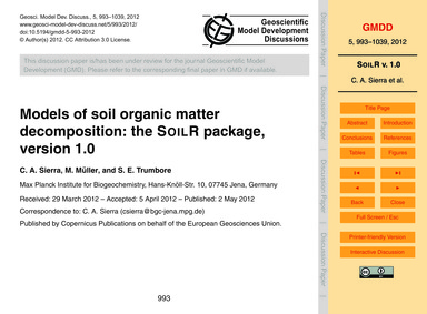 Models of Soil Organic Matter Decomposit... by Sierra, C. A.