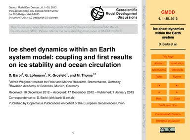 Ice Sheet Dynamics Within an Earth Syste... by Barbi, D.