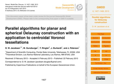Parallel Algorithms for Planar and Spher... by Jacobsen, D. W.