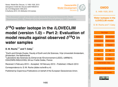 Δ18O Water Isotope in the ILoveclim Mode... by Roche, D. M.