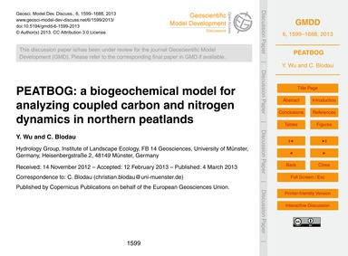 Peatbog: a Biogeochemical Model for Anal... by Wu, Y.
