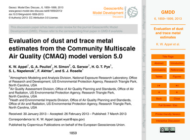 Evaluation of Dust and Trace Metal Estim... by Appel, K. W.