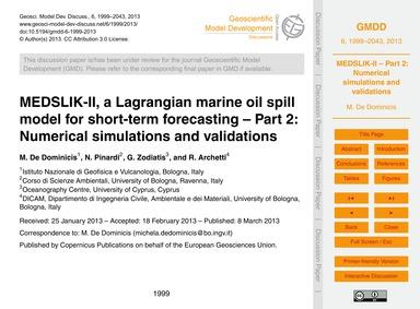 Medslik-ii, a Lagrangian Marine Oil Spil... by De Dominicis, M.