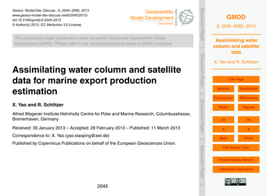 Assimilating Water Column and Satellite ... by Yao, X.