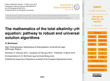 The Mathematics of the Total Alkalinity–... by Munhoven, G.