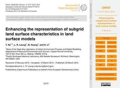 Enhancing the Representation of Subgrid ... by Ke, Y.
