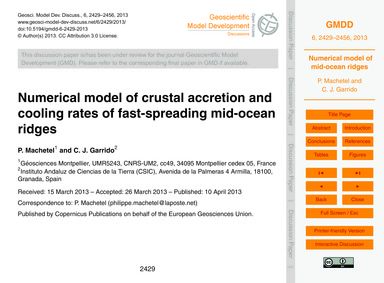 Numerical Model of Crustal Accretion and... by MacHetel, P.