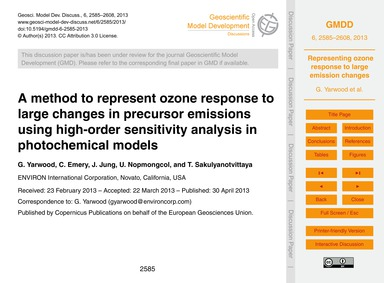 A Method to Represent Ozone Response to ... by Yarwood, G.