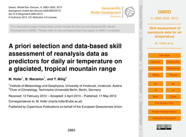 A Priori Selection and Data-based Skill ... by Hofer, M.
