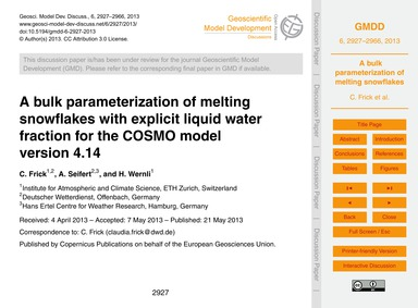 A Bulk Parameterization of Melting Snowf... by Frick, C.