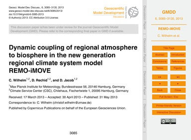Dynamic Coupling of Regional Atmosphere ... by Wilhelm, C.