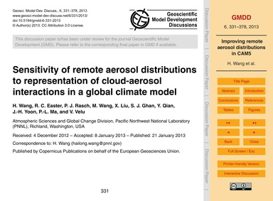 Sensitivity of Remote Aerosol Distributi... by Wang, H.