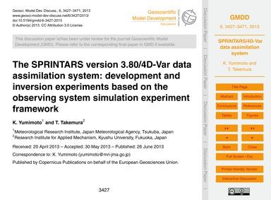 The Sprintars Version 3.80/4D-var Data A... by Yumimoto, K.