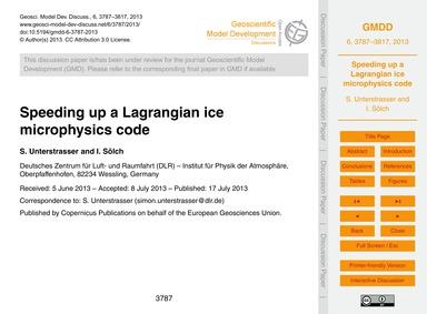 Speeding up a Lagrangian Ice Microphysic... by Unterstrasser, S.