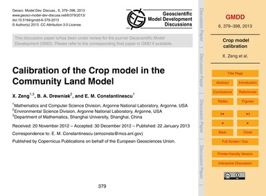 Calibration of the Crop Model in the Com... by Zeng, X.