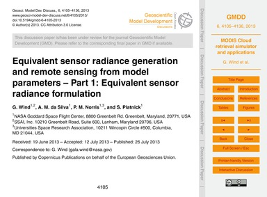 Equivalent Sensor Radiance Generation an... by Wind, G.