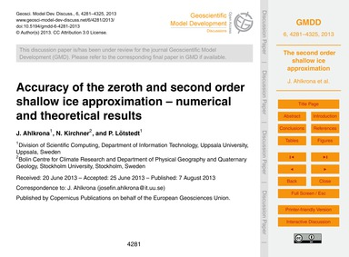 Accuracy of the Zeroth and Second Order ... by Ahlkrona, J.
