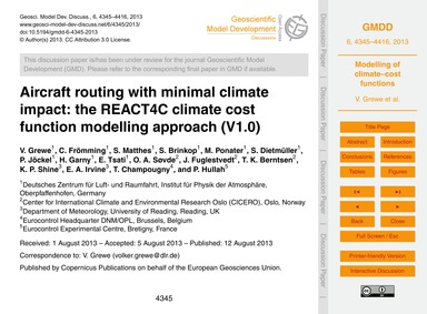 Aircraft Routing with Minimal Climate Im... by Grewe, V.