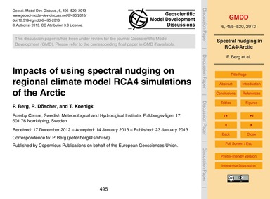 Impacts of Using Spectral Nudging on Reg... by Berg, P.
