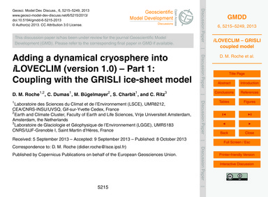 Adding a Dynamical Cryosphere Into ILove... by Roche, D. M.