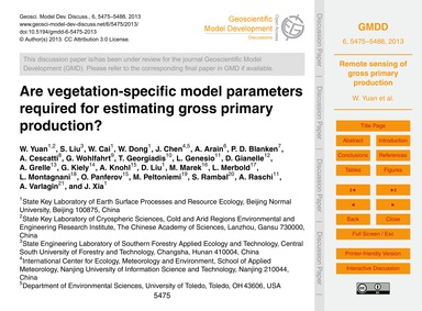 Are Vegetation-specific Model Parameters... by Yuan, W.