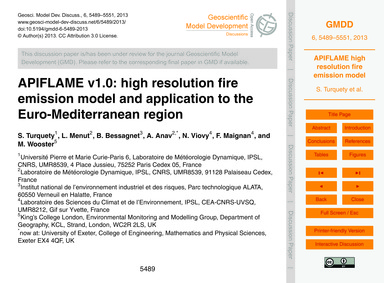 Apiflame V1.0: High Resolution Fire Emis... by Turquety, S.