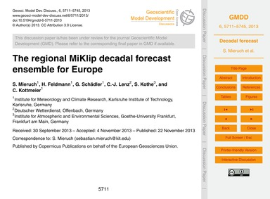 The Regional Miklip Decadal Forecast Ens... by Mieruch, S.