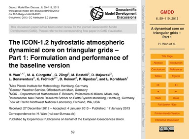 The Icon-1.2 Hydrostatic Atmospheric Dyn... by Wan, H.