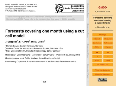 Forecasts Covering One Month Using a Cut... by Steppeler, J.