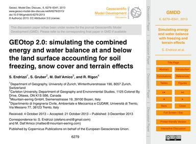 Geotop 2.0: Simulating the Combined Ener... by Endrizzi, S.