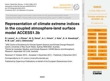 Representation of Climate Extreme Indice... by Lorenz, R.