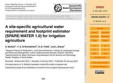 A Site-specific Agricultural Water Requi... by Multsch, S.