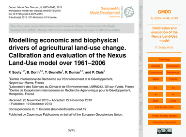 Modelling Economic and Biophysical Drive... by Souty, F.